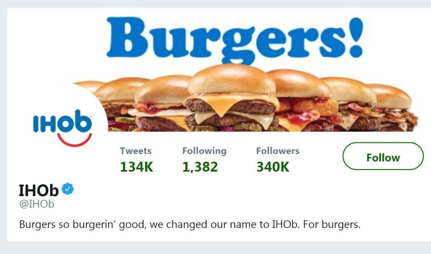 On Monday, June 11, 2018, IHOP revealed the meaning of its new accronym, IHOb, which stands for International House of Burgers.