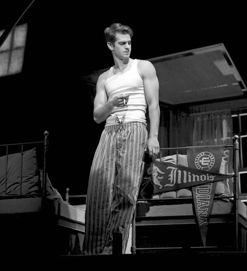 "Andrew Garfield as Biff in Mike Nichols' Broadway revival of ""Death of a Salesman."""