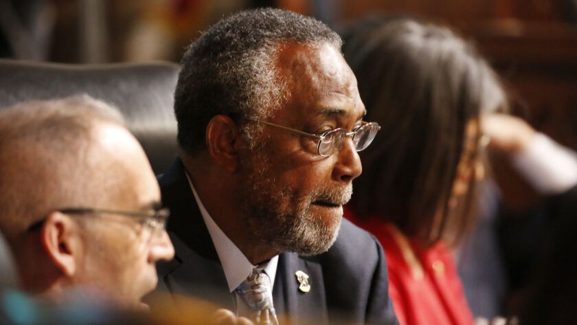 Los Angeles City Councilman Curren Price attends a council meeting at Los Angeles City Hall in 2018.