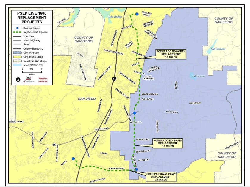 A map included with the presentation shows the route of the new pipeline through Rancho Bernardo and Poway.