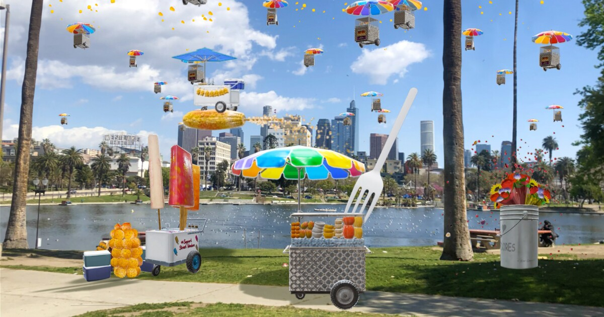 Fruit carts flying over MacArthur Park: How you can see LACMA's first AR monuments