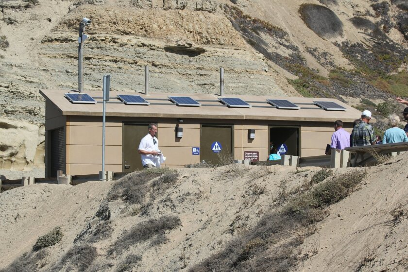 This new environmentally friendly restroom is perched above the southern edge of Blacks Beach, though there are no signs from the beach indicating it is there.