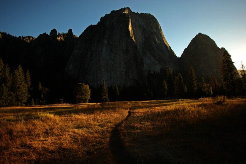 A view of Middle Cathedral rock inside Yosemite National Park on Oct. 2, 2013.