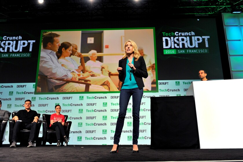 Julia Cheek of Everlywell speaks onstage during TechCrunch Disrupt in 2016 in San Francisco.