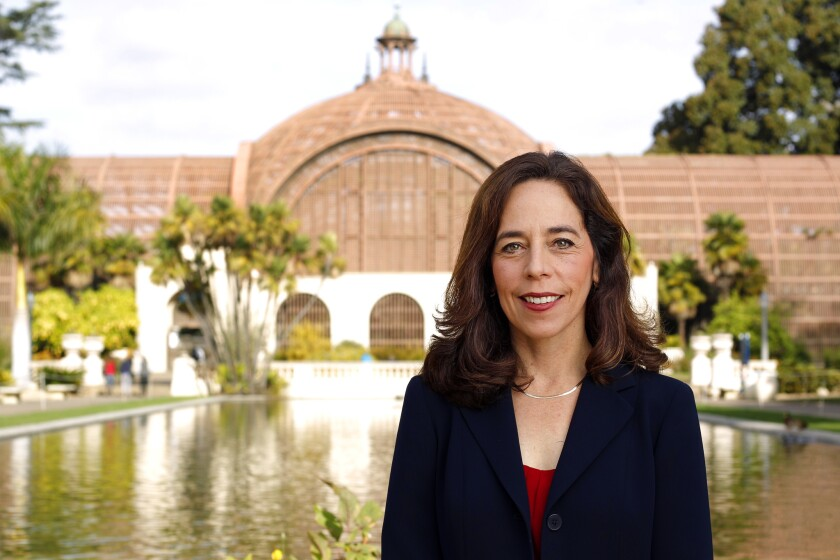 San Diego City Attorney Mara Elliott poses for a photo in Balboa Park.
