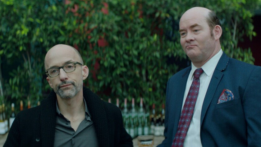 "(L-R) - Jim Rash (Bernard) and David Koechner (Huey) in ""Bernard and Huey"" directed by Dan Mirvish,"
