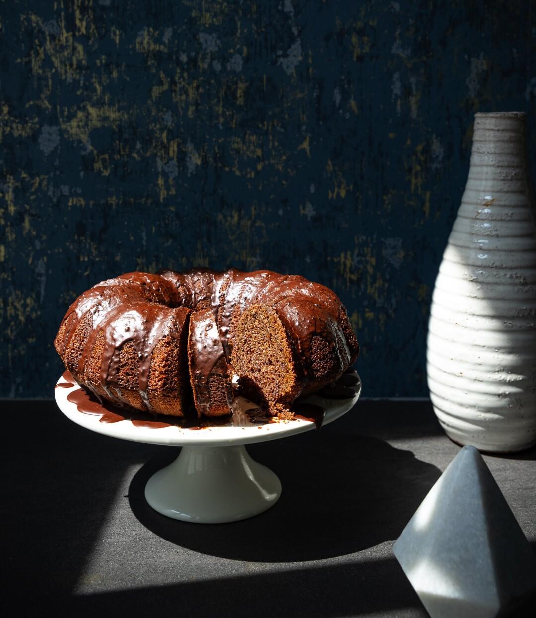 Glazed Orange Blossom and Chocolate Olive Oil Bundt Cake