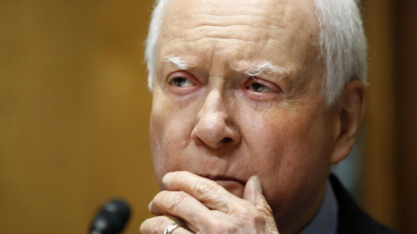 Senate Finance Committee Chairman Orrin G. Hatch (R-Utah) during a hearing on tariffs.