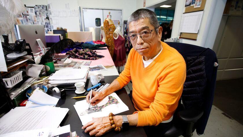 LOS ANGELES, CA., MARCH 9, 2017-- Japanese American fashion designer Tadashi Shoji is particularly k