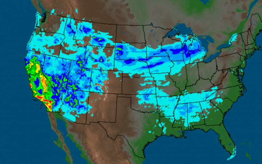 National Weather Service map shows rain activity in California