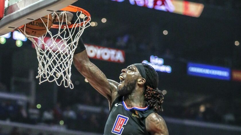 LOS ANGELES, CA, MONDAY, FEBRUARY 25, 2019 - Clippers center Montrezl Harrell slams down a basket ov