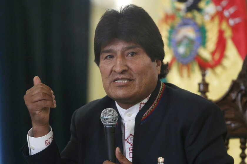FILE - In this Feb. 24, 2016 file photo, Bolivia's President Evo Morales speaks during a press conference at the government palace in La Paz, Bolivia. Morales has failed to convince some of his biggest political allies that he should be allowed to remain in power. Powerful unions in the Andean coun