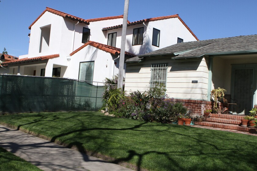 Smaller homes have been demolished and replaced with new, much larger homes in the Beverlywood neighborhood of Los Angeles.
