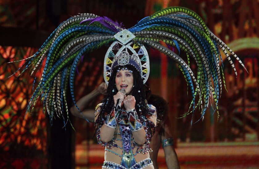Cher performs at the Valley View Casino Center .