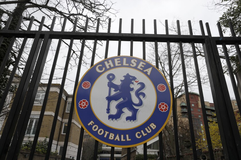 A sign on the gate at Chelsea's Stamford Bridge stadium.