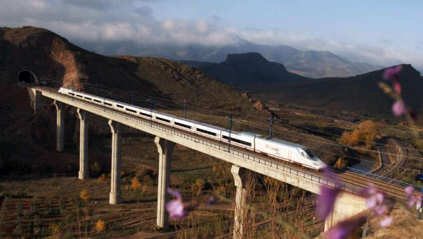 An AVE bullet train in Spain travels between Barcelona and Madrid. Other Spanish lines don't cover their operating expenses, a study showed.