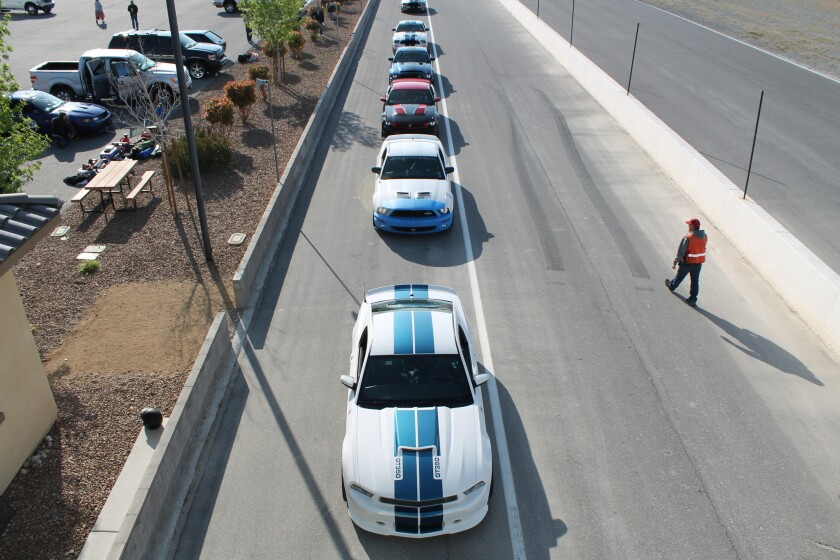 Attendees to the 6th annual Shelby Bash lineup for track time at Spring Mountain Motorsports Ranch in Pahrump, NV.
