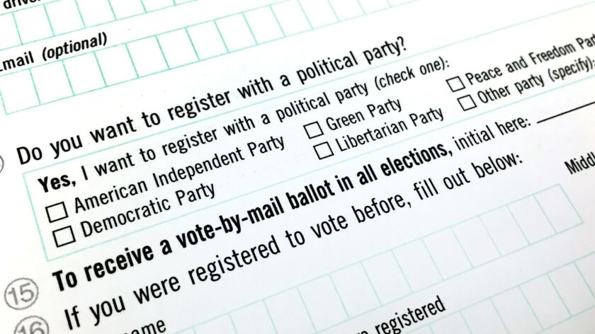 California voter registration card