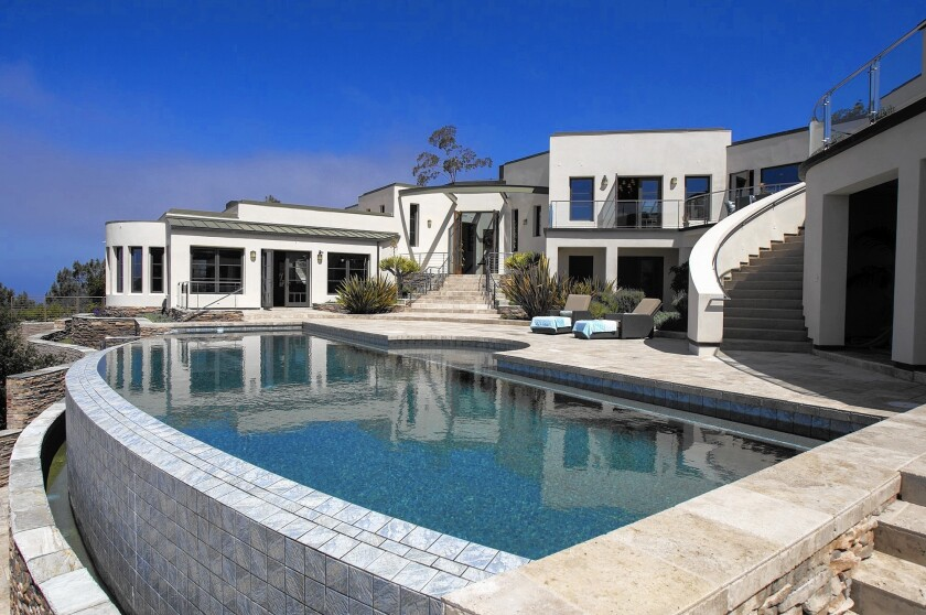 The infinity pool and deck of an 11,000 sq. ft. Laguna Beach home.