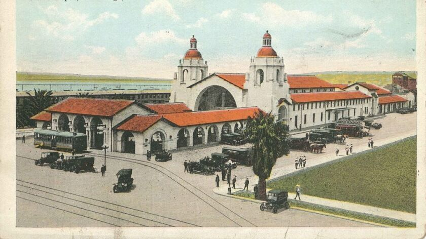 An early postcard shows the depot with its forecourt intact and the streetcar stop in view.