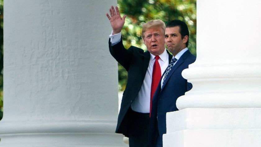 President Trump and Donald Trump Jr. at the White House on July 5.