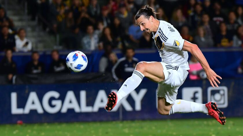 Galaxy's Zlatan Ibrahimovic scores a disallowed goal in the second half against the New York Red Bulls on April 28.