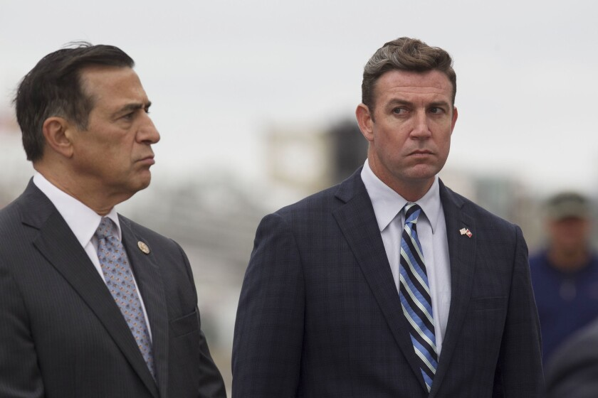 Rep. Duncan D. Hunter, right, and Darrell Issa, left, at an event in San Diego in 2017.