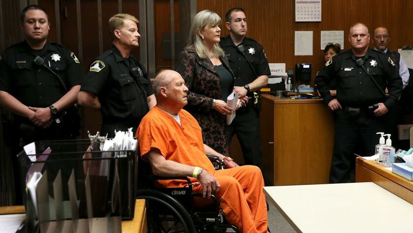 Joseph James DeAngelo Jr., the suspected Golden State Killer, appears in a Sacramento courtroom for his arraignment Friday.