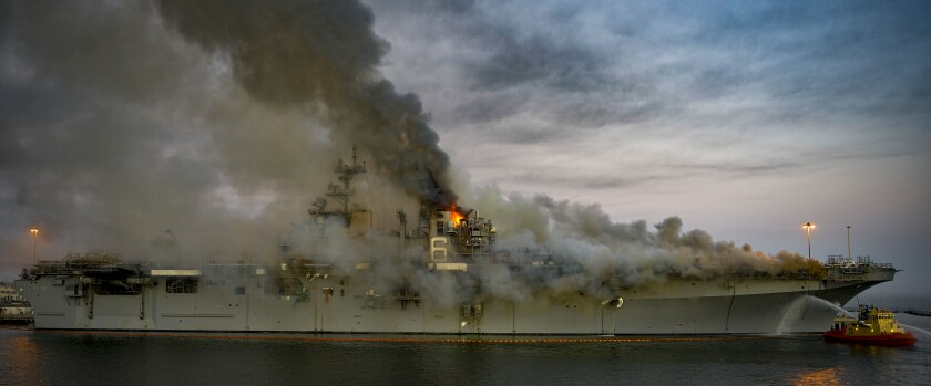 Fires continue on board the Bonhomme Richard ship at Naval Base San Diego.