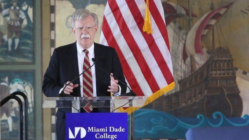 President Trump's national security advisor John R. Bolton speaks about the administration's policies toward Latin America on Nov. 1 in Miami.