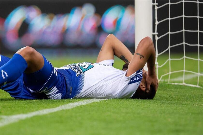 Pachuca player Franco Jara shows his frustration after missing out on an excellent chance to score against Atlas during Matchday 16 action in the Mexican soccer league's Apertura championship. The contest, which ended in a scoreless draw, was played on Nov. 9, 2018, at Estadio Jalisco in Guadalajara, Mexico. EPA-EFE/Francisco Guasco
