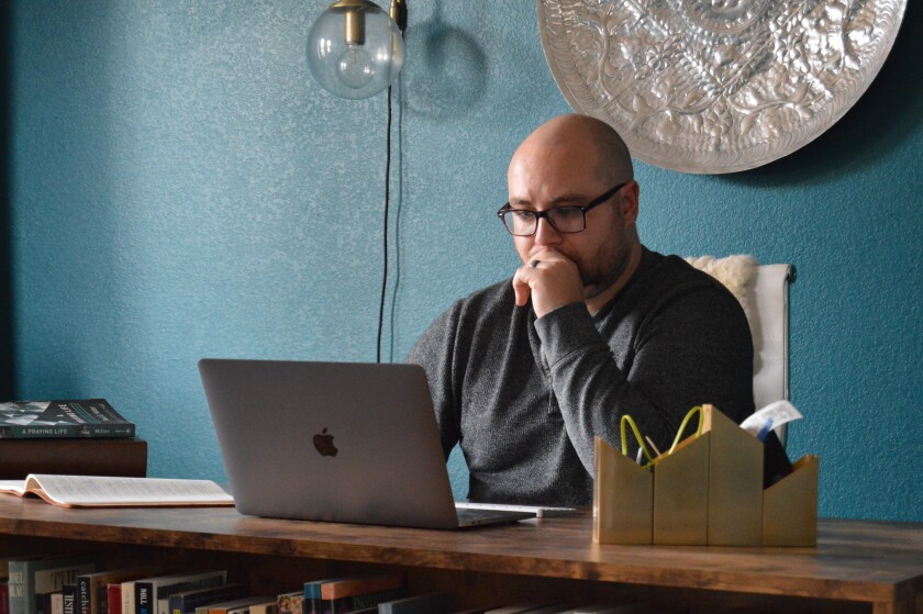 Jonathon Seidl in his home office in Dallas. The coronavirus pandemic has made managing his anxiety disorder a challenge.