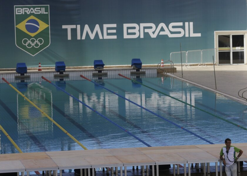 A pool at the Maria Lenk Aquatics Center which will host the synchronized swimming and diving competitions during the 2016 Olympic Games, is shown to the press, in Rio de Janeiro, Brazil, Friday, Feb. 12, 2016. Between February 19-24, Maria Lenk Center will host the FINA World Diving Cup, a test-ev
