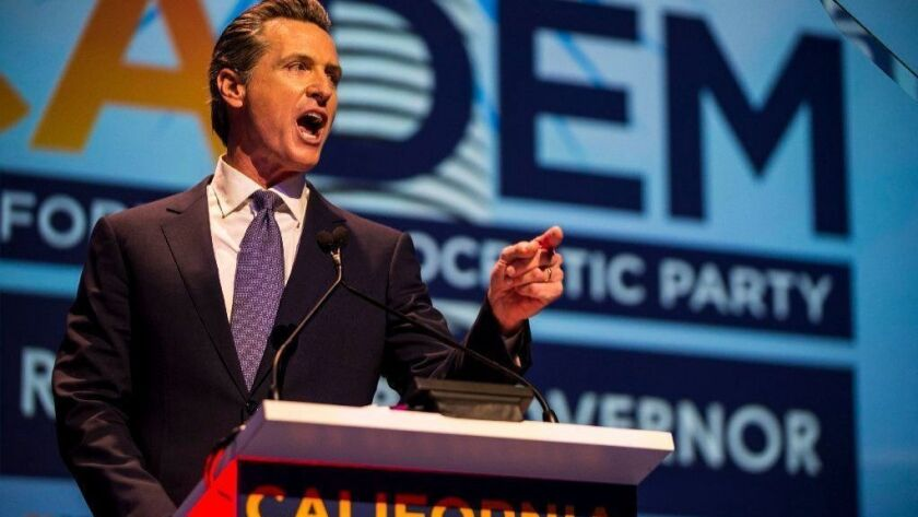 Gavin Newsom speaks at the California Democrats' state convention in San Diego on Feb. 24.