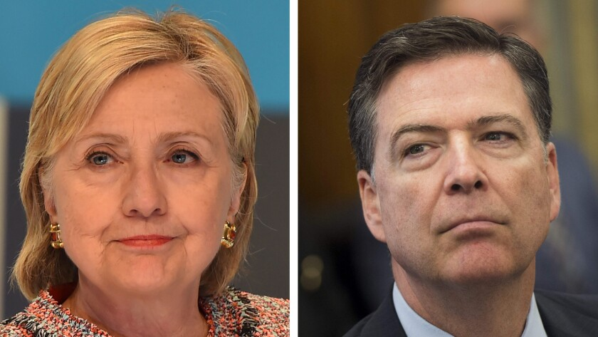 Democratic presidential candidate Hillary Clinton, left, and FBI Director James Comey.