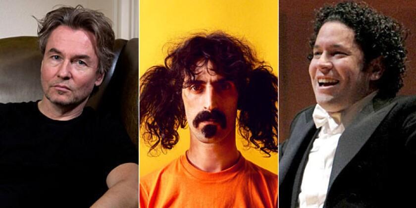Esa-Pekka Salonen, left, Frank Zappa and Gustavo Dudamel will be part of the L.A. Phil's 2013-14 season.