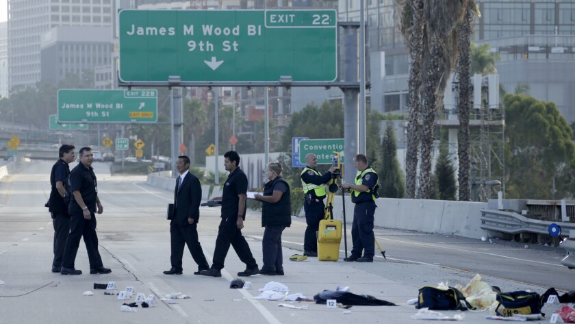 The California Highway Patrol shut down northbound lanes of the 110 Freeway in downtown Los Angeles after a man was shot by a CHP officer.