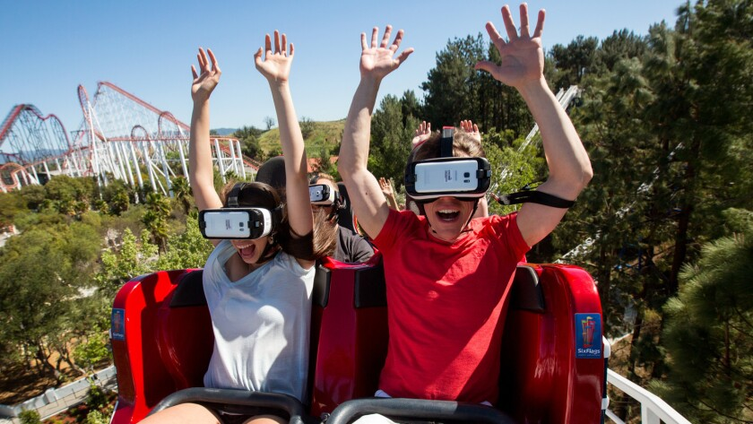 The New Revolution virtual reality roller coaster at Six Flags Magic Mountain.