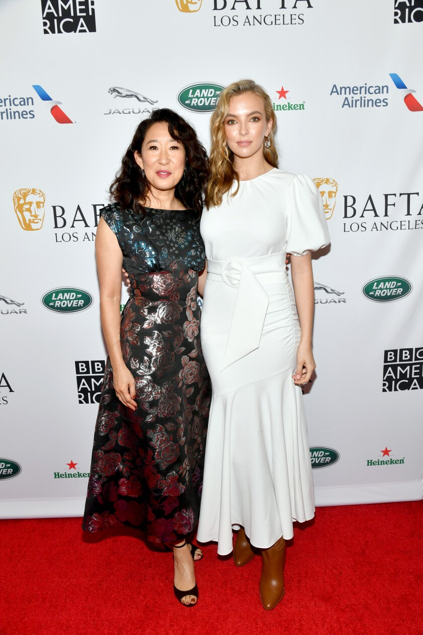 Sandra Oh, left, and Jodie Comer at the BAFTA Los Angeles + BBC America TV Tea Party.