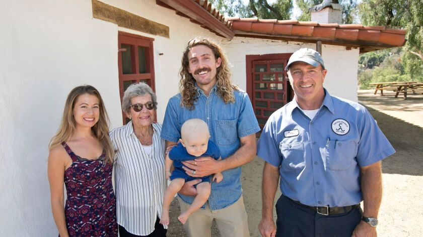 Susan Larson, Marie Lawson (descendent of Osuna's), Nate Larson (grandson of Marie), Russell Larson (great-grandson of Marie), Osuna Ranch manager Troy Keenan