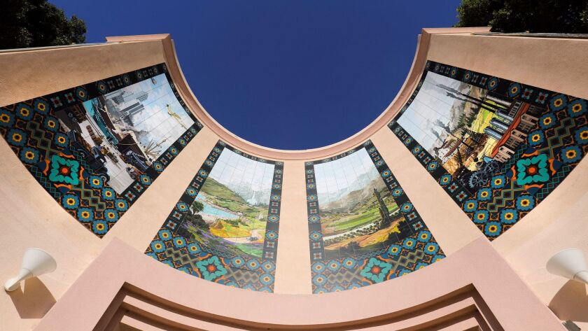 SAN DIEGO, CA 11/21/2017: Murals above the entrance at the San Diego Automotive Museum in Balboa Par