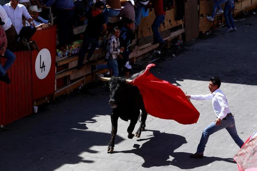 Un hombre participa en la tradicional Huamantlada hoy, sábado 18 de agosto de 2018, en Huamantla, estado de Tlaxcala (México). EFE