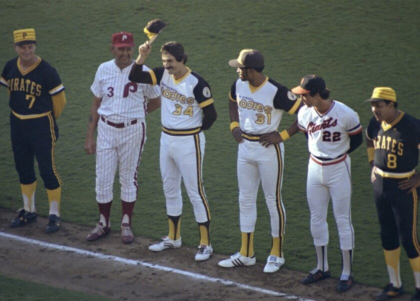 Padres reliever Rollie Fingers and outfielder Dave Winfield are introduced before the first All-Star Game held in San Diego.