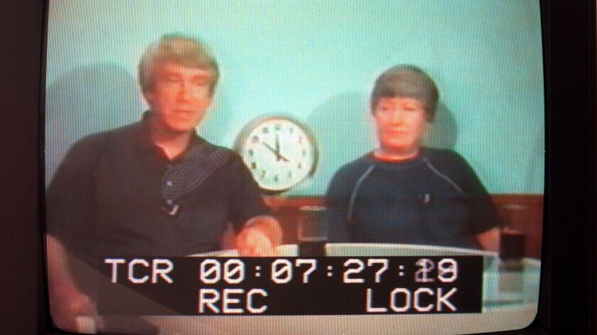A screengrab from a videotape of Bo & Peep, two leaders of the Heaven's Gate cult.