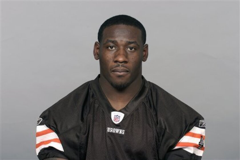 FILE -- This is a 2009, file photo showing James Davis of the Cleveland Browns NFL football team. The NFL is investigating Cleveland Browns rookie running back James Davis' season-ending shoulder injury.(AP Photo/File)