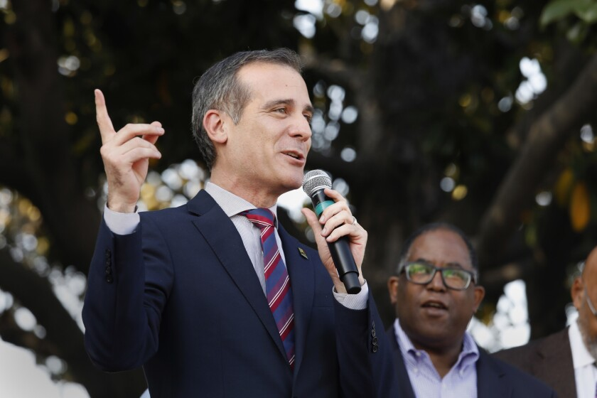 Mayor Eric Garcetti attends the unveiling of Obama Boulevard in March. Some remarks he made about the U.S. Embassy relocating to Jerusalem last month raised questions.