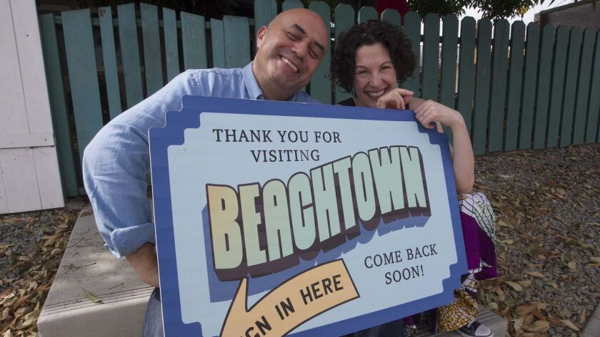"Herbert Siguenza (left) and Rachel Grossman created San Diego Rep's ""Beachtown,"" and audience-involved show inspired by real people and places around San Diego."