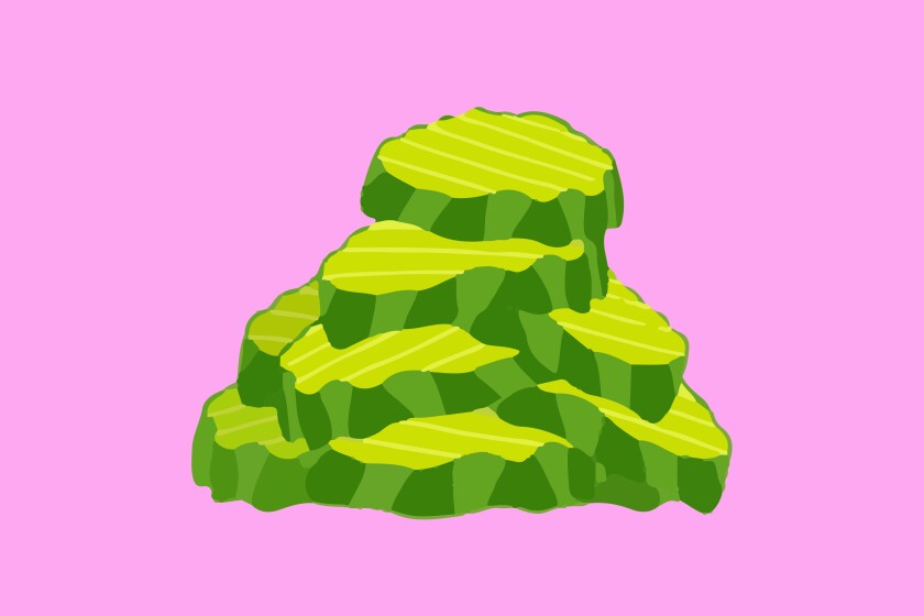 Illustration of a stack of hot chicken pickles