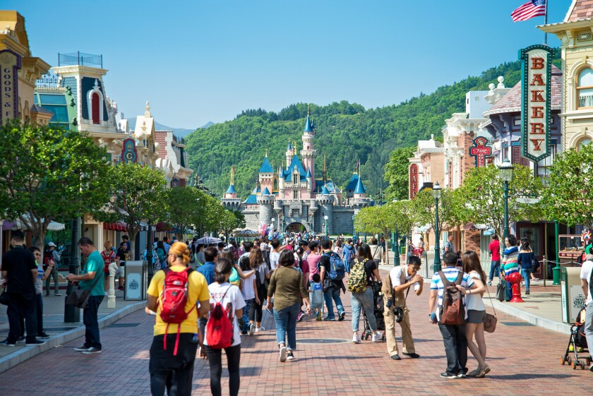 Main Street U.S.A. is the entryway to Hong Kong Disneyland, leading to Sleeping Beauty Castle.