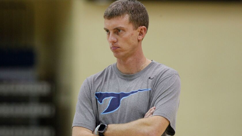 SAN DIEGO, February 27, 2018   USD assistant basketball coach Sam Scholl, who is now the team's inte